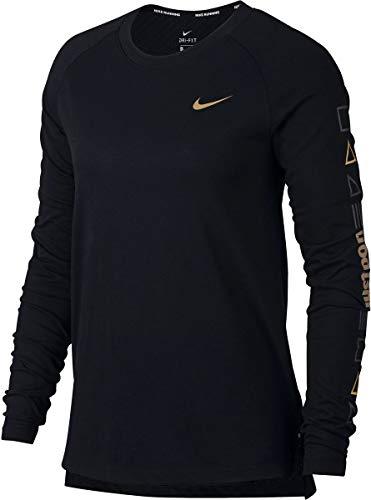 Nike Tailwind Flash Longsleeve Damen, Black/Metallic Gold, L (Schwarz Und Gold-shirt Von Nike)