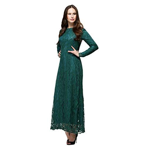 Lucky Mall Frauen Mode Volltonfarbe Langer Spitzen Kleid, Damen Lange Ärmel Islamisch Kleidung Mittlerer Osten Saudi Arabisch Traditionell Kleidung Muslimische Ramadan ()