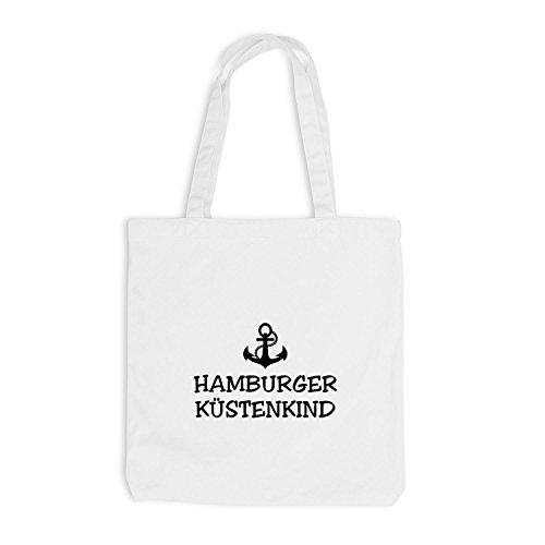 Jutebeutel - Hamburger Küstenkind - Anker Schiffsanker Küste Maritim Weiß
