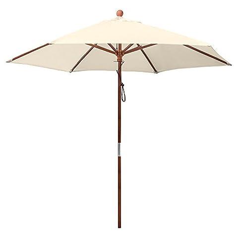 anndora 25002 Sonnenschirm, natur, 250 cm rund, Gestell Holz, Bespannung Polyester, 8 kg