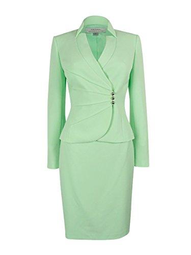 Tahari ASL Women's Crepe Crossover Jacket Skirt Suit