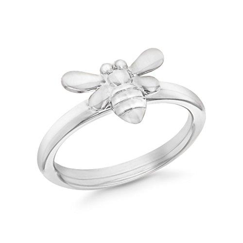 Gabbana Tier (Tuscany Silver Damen Sterling Silber Überzogen mit Rhodium Biene Stacking Ring 57 (18.1) mm)