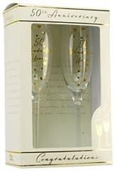 Idea Regalo - Amore Set di flute da champagne, per 50° anniversario, nozze d'oro