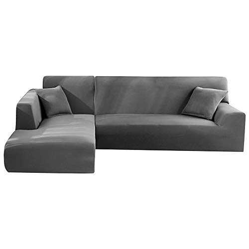 Seebesteu copridivano con penisola chaise longe elasticizzato per divano a forma di l (grigio, 3 posti+3 posti)