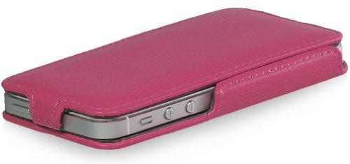 StilGut Slim Case (Variante B) exklusive Tasche für Apple iPhone 5, 5s & iPhone SE Smartphone aufklappbar, Cognac Rosa