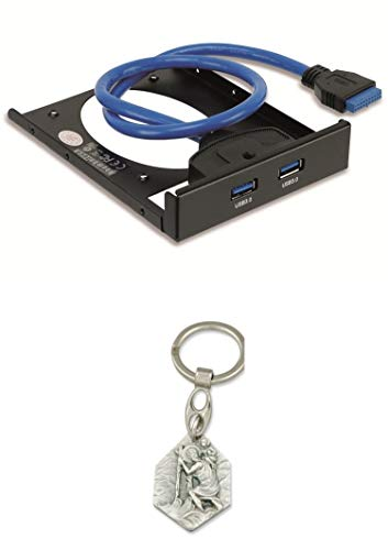 5l Anhänger (Zisa-Kombi USB 3.0 Frontpanel PA-3,5L, 2X USB 3.0, mit SSD Halterung (985988703520) mit Anhänger Herz Jesu 2,5cm)