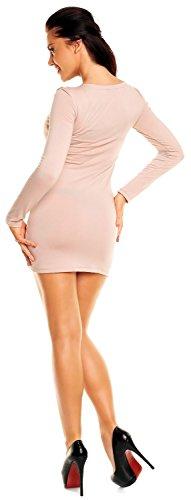 Zeta Ville- Damen - Longshirt Mini-Kleid Tunika Top - Langarm - Raffungen - 941z Ekrü