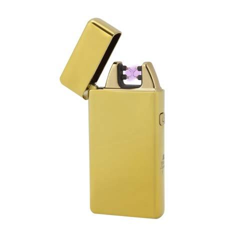 TESLA Lighter T05 | Lichtbogen Feuerzeug, Plasma Double-Arc, elektronisch wiederaufladbar, aufladbar mit Strom per USB, ohne Gas und Benzin, mit Ladekabel, in Edler Geschenkverpackung, Gold