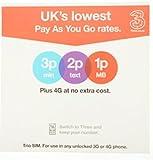 Three Pay As You Go 3G Trio(Standard/Micro/Nano)SIM Card Pack