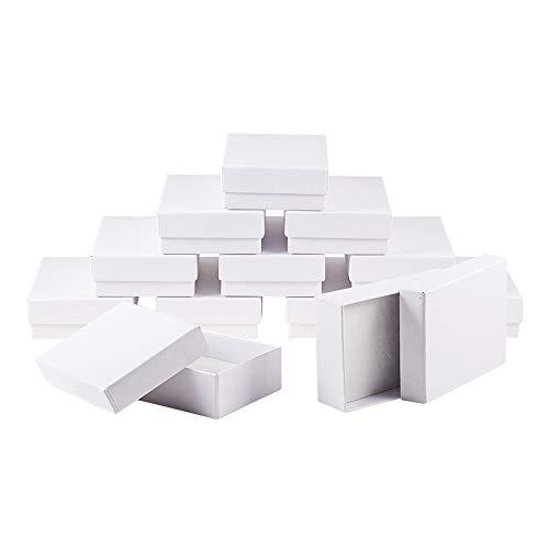 nbeads 60 PCS Weiß Rechteck Kartons Schmuck Verpackung Box für Ketten, Ohrringe und Ringe, 9 x 6,5 x 2,8cm