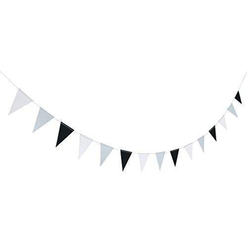 ecke Wimpelkette Wimpelgirlande Girlande Party Geburtstag Dekoration - Schwarz Weiß Silber ()