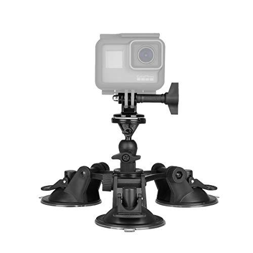 Support à Ventouse avec Quick Release pour Gopro,Compatible avec GoPro Sony Nikon DJI Action et Caméra Sport, Fxation Gopro Voiture, Support Gopro Pare-Brise ou Fenêtre pour Prise Vu Dehors.