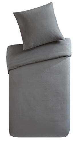 SCM Bettwäsche Grau Uni Einfarbig - Mikrofaser Allergiker geeignet - 2-teilig Bettbezug & Kissenbezug - Ganzjahres & 4-Jahreszeiten - Ideal für Gästezimmer - Einzelbett, 135x200+80x80cm