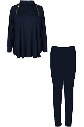 Womens Or Tirettes Polo Décontracté Cou surdimensionné Salon Gym Lagenlook Baggy vêtement Survêtement Mesdames Bleu Marine
