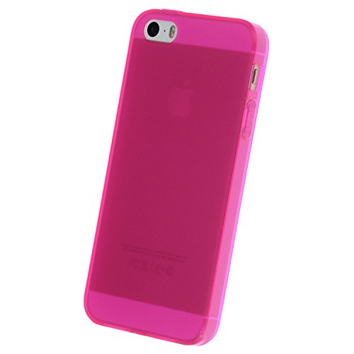 doupi PerfectFit Schutzhülle für iPhone 5 5S SE, Staubschutz eingebaut mit Staubstöpseln Matt Clear Design TPU Schutz Hülle Silikon Schale Bumper Case Schutzhülle Cover, pink
