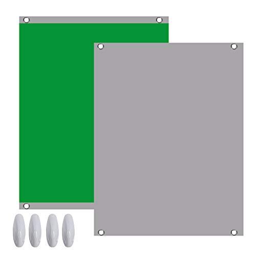 Green Screen Foto Hintergrund Leinwand 2in1 Fotohintergrund 1,5x2m Grün Grau Chromakey inkl. 4 Klebe Harken für YouTube Video Fotostudio