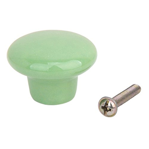 VORCOOL Tiradores de cerámica Resistentes Redondos para Armario de Cocina, cajón, pomos para Puerta, Tiradores - tamaño S 5 Piezas (Verde)