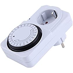 24 heures mécanique électrique programme Plug Timer Prise interrupteur d'alimentation Energy Saver US/Couleur Blanc EU Plug (Blanc)