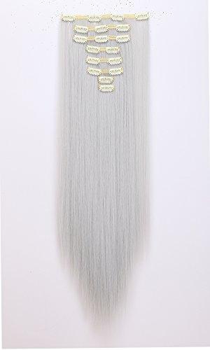 Doppel-Tresse Clip In Hair Extensions Full Head 61cm gerade Stilvolle Mega Dickes Haar (Gerade Haar Dickes Extensions)