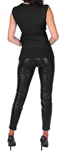 Happy Mama Damen 2in1 Umstands Stillshirt Bolero Stilltop Tunika Stillbluse 094p Schwarz