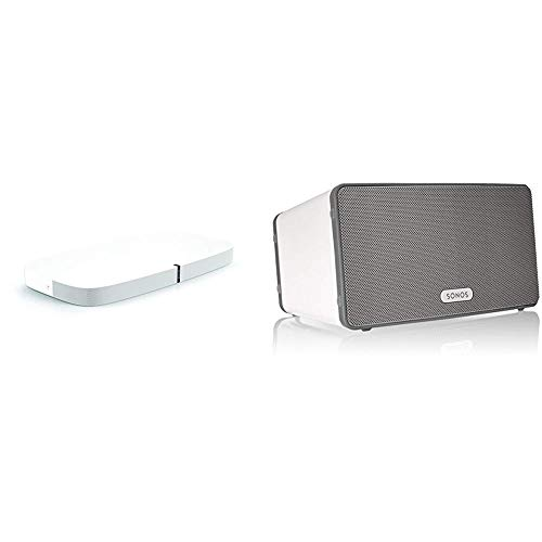 Sonos playbase soundbase wireless per l'home theater e lo streaming musicale, bianco + sonos play3eu1 - lettore all-in-one, wireless, controllabile da smartphone, tablet e pc, bianco