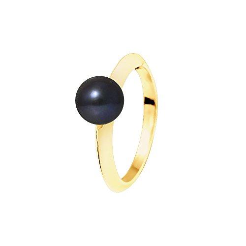 Pearls & Colors Damen-Ring 375 Gelbgold rhodiniert Perle Rundschliff Süßwasser-Zuchtperle Schwarz Gr. 60 (19.1) - AM-9BGOR-ED 096-1R7J-BL/60 (Süßwasser Schwarz Perle Ring)