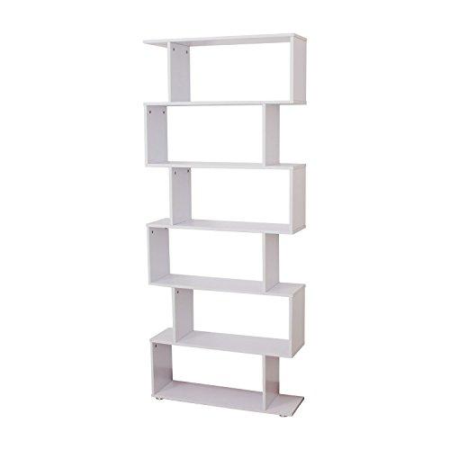 HOMCOM Wooden Wood S Shape Storage Display 6 Shelves Room Divider Unit  Chest Bookshelf Bookcase Cupboard Cabinet Home Office Furniture (White)