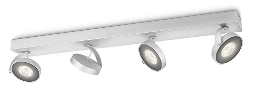 Philips myLiving Clockwork - Barra de 4 focos LED, iluminación interior, aluminio, color gris luz blanca cálida