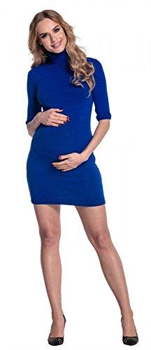 Happy Mama Femme Maternité. Robe moulante en maille de grossesse col roulé. 125p Bleu Royal