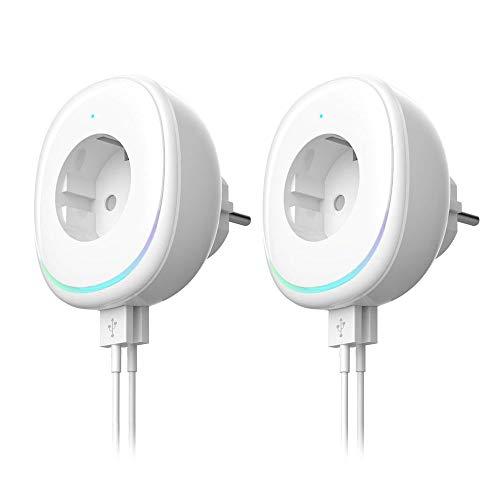 Smart Steckdose, WLAN Steckdose mit 2 USB Ports und Nachtlicht, Kompatibel mit Alexa,Google Home und IFTTT, Fernsteuerung, Timing Funktion, Überlastungsschutz (2 Pack)
