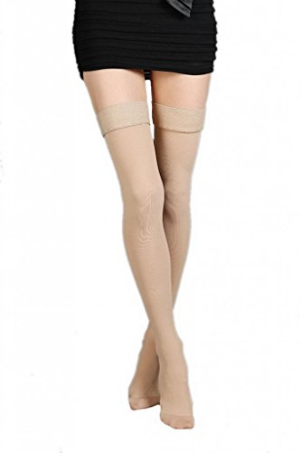 La Vogue Medical Compression Socks Closed Toe Thigh High Beige 15-50mmHg