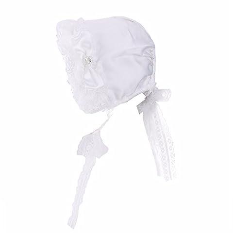 FEESHOW Baby Lace Flower Christening Bonnet Kids Princess Beanie Cap Sunhats Summer Cap Hats White 6-12