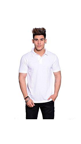 IL232-L-Illusion White Polo Neck T-Shirt
