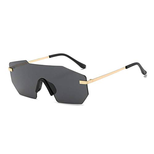 GAOHAITAO Unisex Big One Piece Lens Sunglasses Men Rimless Metal Men Shades Women Mirror Gold Pink Blue Uv400 Sun Glasses,Gold w Black