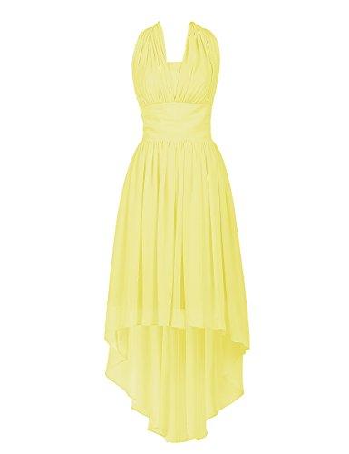 Dresstells Abiballkleid Damen Neckholder Chiffon Homecoming Kleider Party Kleider Gelb