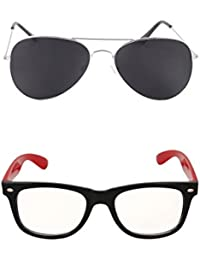 Amour-propre Sunglasses Combo - Black Aviator And Red Retro Wayfarer- Unisex
