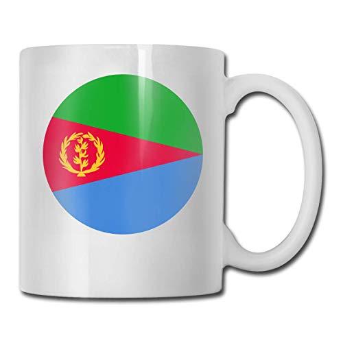 Daawqee Becher Coffee Mug Flag Icon of Eritrea Mug Funny Ceramic Cup for Coffee and Tea with Handle, White