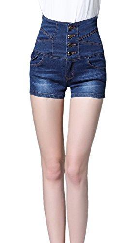 iRachel Damen High Waisted Jeans Shorts Sommer Hotpants Demin kurze Hose Loch Hose (Jean High-waisted Shorts)