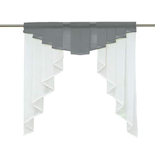 HongYa transparenter Voile Scheibengardine Tunnelzug Kurzstore Küche Kleinfenster Gardine H/B 100/100 cm Grau
