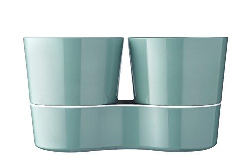 Mepal, Doppio Vaso per piantine ed erbette, Plastica, 13,7x 22cm, 1unità, Plastica, Nordic Grün, 13.7 x 22 cm