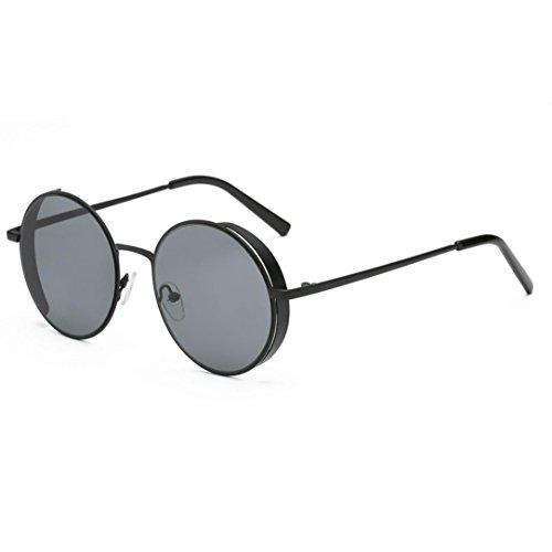 Herren und Damen Runde Sonnenbrille Rosennie Frauen Männer Mode Quadrate Metallrahmen Marke Klassische Sonnenbrille UV400 Kleine runde Spiegel reflektierendes Objektiv polarisierte Sonnenbrille (A)