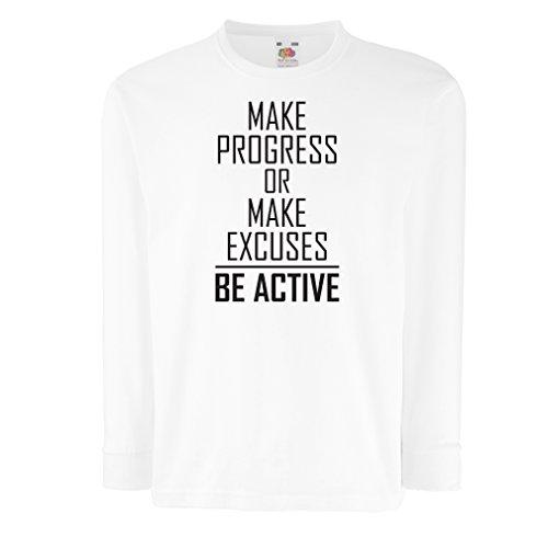 """Kinder-T-Shirt mit Langen Ärmeln """"Be Active - Leben ohne Ausreden"""" - Motivation - inspirierend tägliche Angebote für Erfolg (5-6 Years Weiß Schwarz)"""