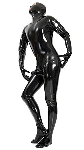 SEXCATS Sexy Men Patent Leather Wetlook Catsuit Lingerie Undershirt Fitness Bodysuit Black Clubwear,XL