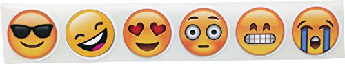 6 Emoticones Diferentes Caras Emoji Circulo Pegatinas, 25 mm 1 Pulgada Redondo, 500 Etiquetas en un Rollo