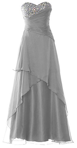MACloth Strapless Long Prom Dress Crystals Tiered Chiffon Formal Evening Gown Silber
