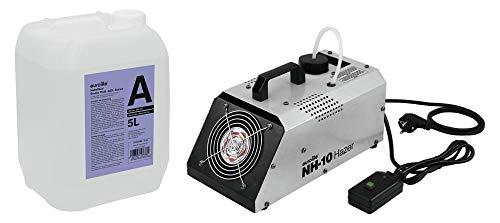 Eurolite NH-10 Dunstnebelmaschine mit 5L Nebelfluid (kompaktes Dunstnebelgerät mit 400W, Fernbedienung & einstellbarem Ausstoß-Volumen inkl. 5-Liter Nebelfluid auf Wasserbasis & geruchsneural)
