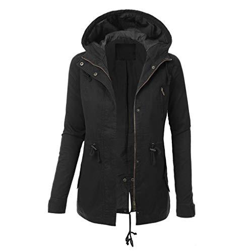 VJGOAL Mantel Damen Jacke Kapuzenpullover Frauen Große Größen S-5XL Lange Ärmel Freizeit Einfarbig Reißverschluss Tasche Outwear