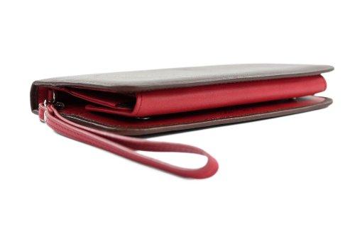 ital. Damen Portemonnaie Geldbörse Geldbeutel Geldsack Portmonee Geld Leder X685805 Braun/Rot