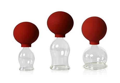 Lauschaer Glas 3er Schröpfglas-Set mit Ball 30-40-50mm zum professionellen, medizinischen, feuerlosen Schröpfen mundgeblasen, handgeformt, Schröpfglas, Schröpfgläser, Original