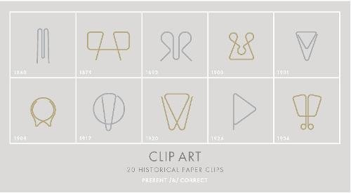 Clip Art: 20 Historical Paper Clips